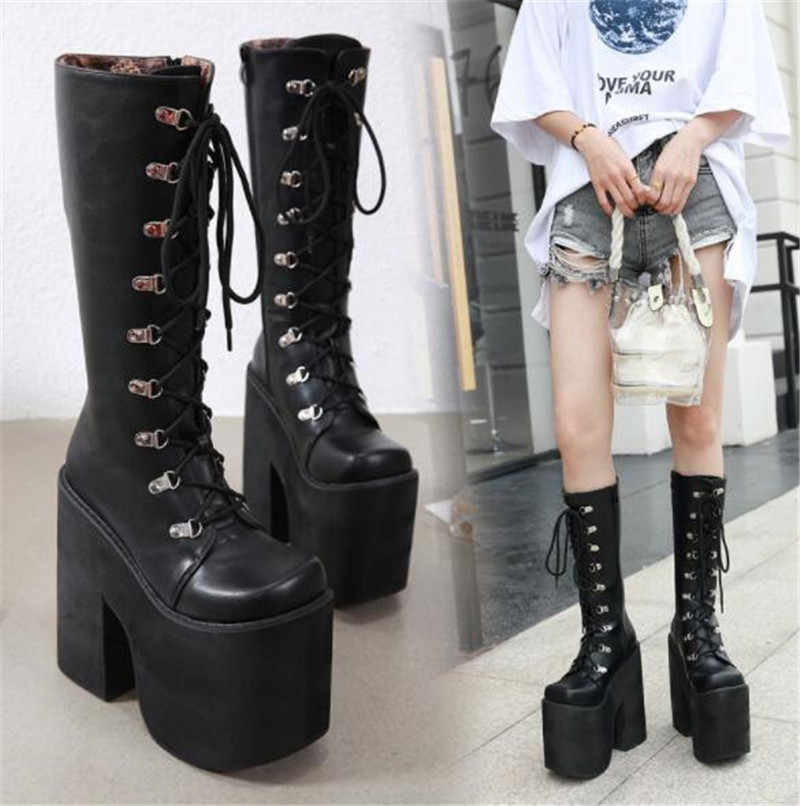 PXELENA Japanese Punk Thick Platform Combat Cosplay Boots Women Chunky Block Heels Hip Hop Gothic Knee High Boots Harajuku Shoes