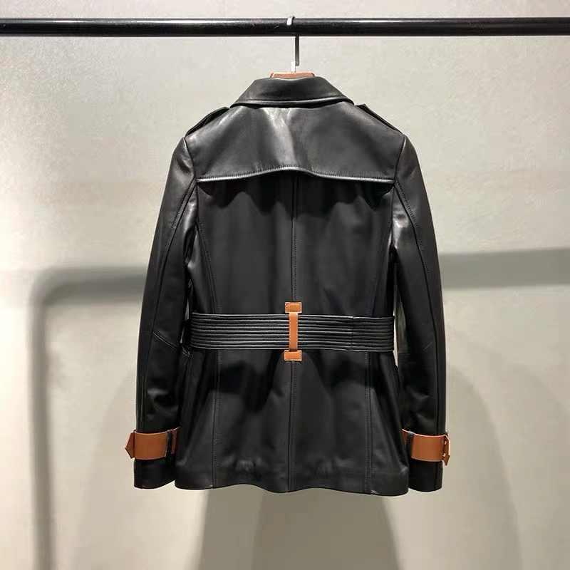 Genuine Leather jacket women fashion real sheepskin tench coat female 2019 autumn fashion office lady windbreaker oversize