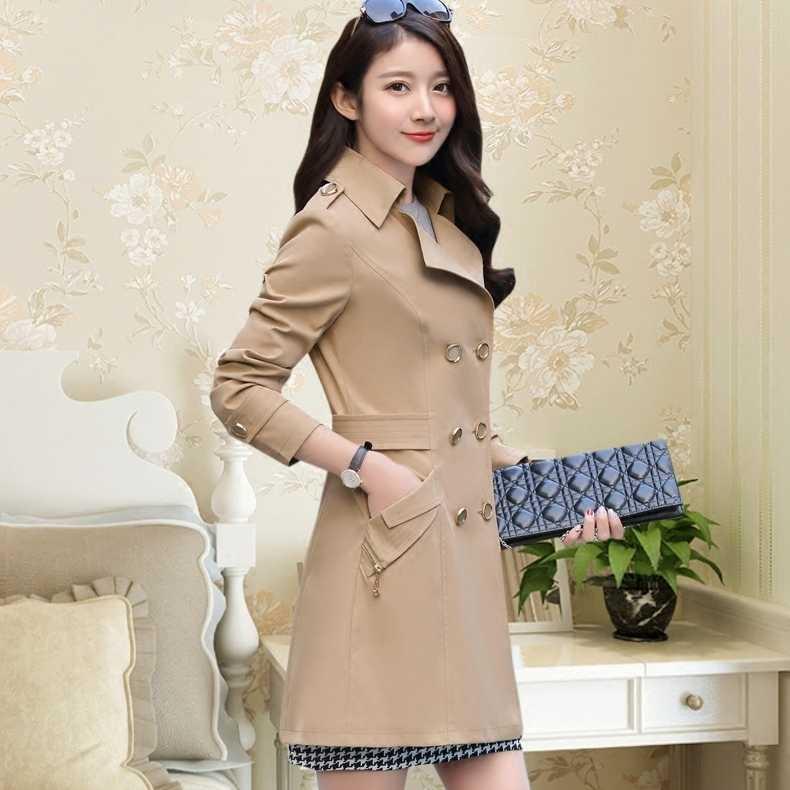 Abrigo cortavientos de talla grande para mujer, gabardina para mujer, abrigo de manga larga estilo coreano, rosa, abrigos para mujer, prendas de vestir dj214