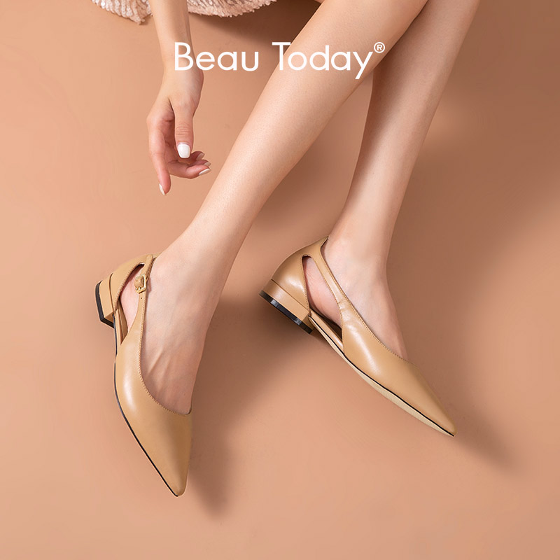 BeauToday Sandals Women Calfskin Genuine Leather Pointed Toe Buckle Strap Cover Heel Summer Ladies Flat Shoes Handmade A30067