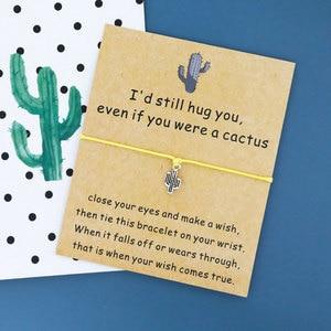 Even If You're A Cactus Wish Bracelet Cactus Pendant Friendship String Bracelet Cactus Jewelry Best Friend Incentive Gift