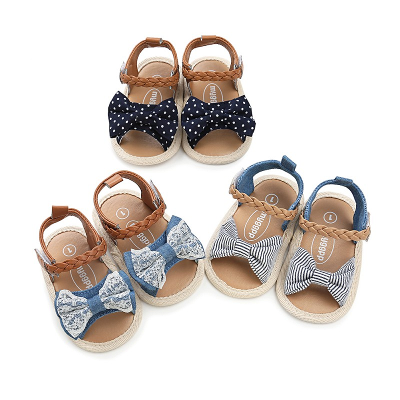 Fashion Baby Girls Sandals Canvas Bow-knot Sandals Kids Beach Shoes Baby Walking Shoes First Walkers