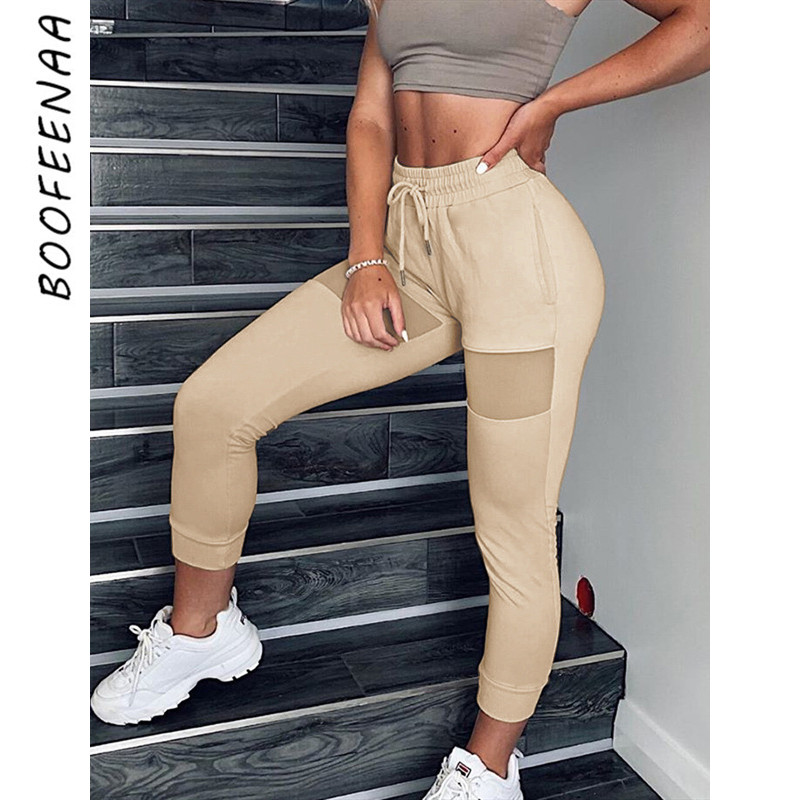 BOOFEENAA Mesh Spliced Sweatpants Joggers Winter Women Pants High Waisted Casual Skinny Trousers Ladies Bottoms C76-AD13