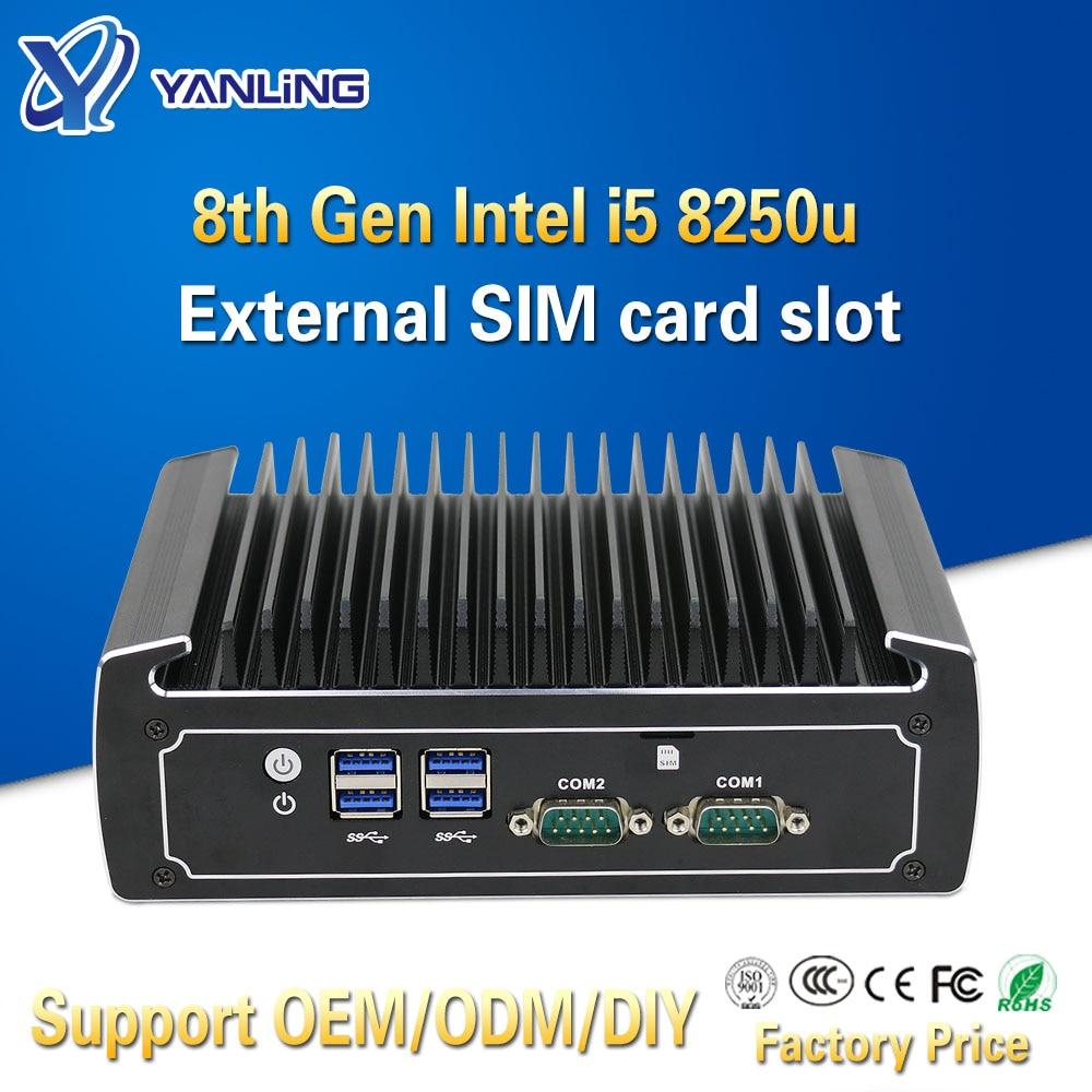 Yanling Fanless Linux Computer 8th Generation Intel Core I5 8250u 4k Mini PC Dual Nic Barebone Nvidia PCs With SIM Card Slot