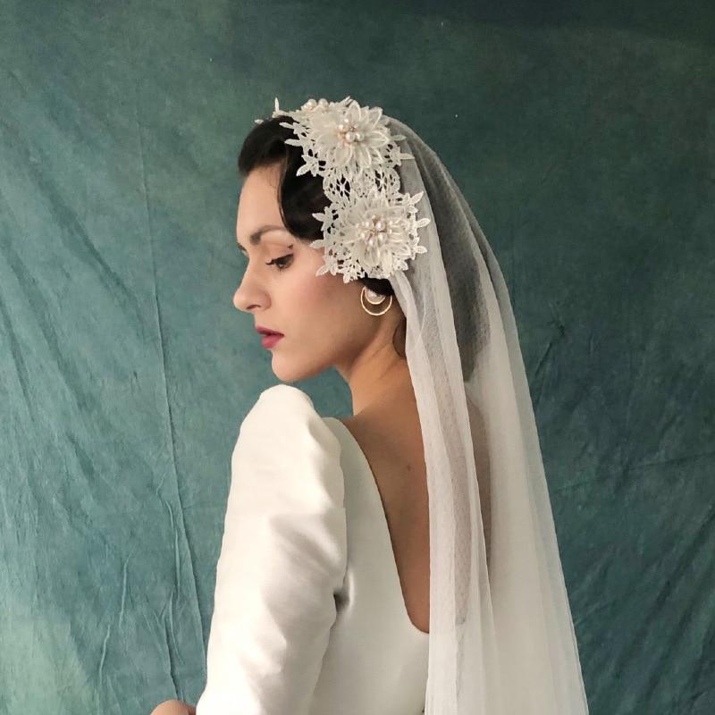 France Bridal Veil White Retro Elegance Wedding Veil Pearl Short Veil Mantilla Wedding French Style Veu De Noiva