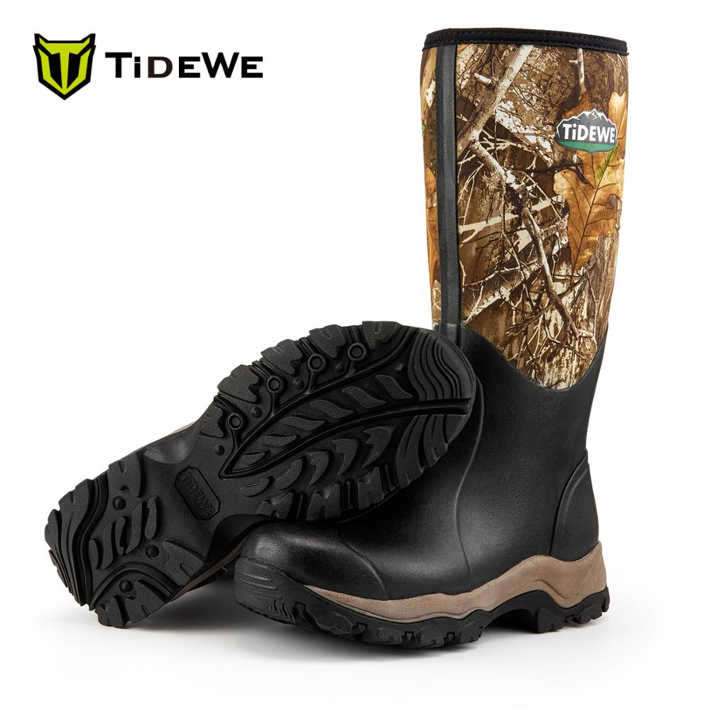 TideWe Hunting Boots Insulated 200G Waterproof Durable 40cm High 6mm Neoprene and Rubber Outdoor Boot for Men Realtree Edge Camo title=