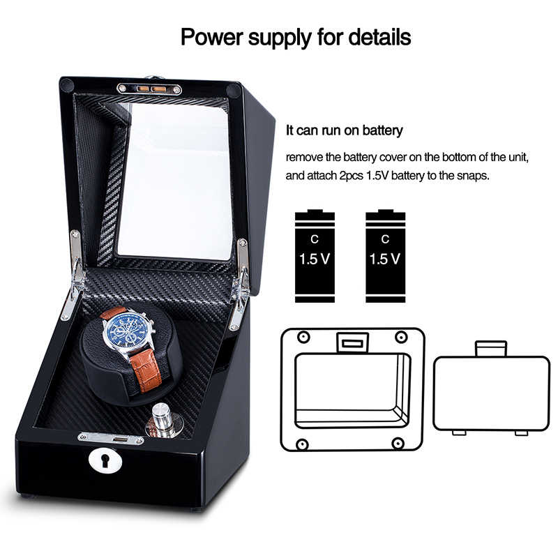 Caja enrolladora automática de reloj de una sola rotación exhibición mecánica accesorios de reloj de madera con Motor silencioso y enchufe