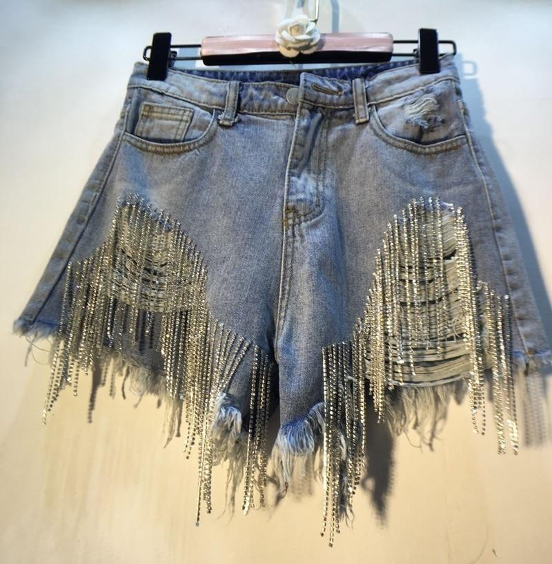 Rhinestone Heavy Tassels Denimi Shorts Spring Summer 2020 High Thin Waist Light Blue Cowboy Shorts Women
