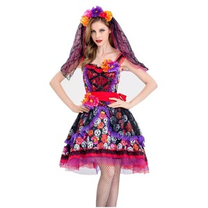 Image 3 - Traje de cosplay de caveira zumbi, fantasia mexicana do dia das bruxas, dia das bruxas, carnaval, festa, flor, fantasma, vestido de noiva