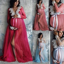 Women V-neck Gown Lace Maternity Maxi Dresses Fancy Shooting Photo Pregnant Women Dresses Photography Props Maternity Clothing