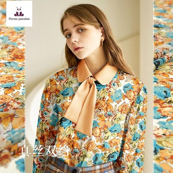 137 cm width printed silk fabric meter mulberry silk double crepe fabric dress women's clothing fabric wholesale silk cloth