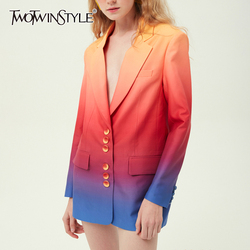 TWOTWINSTYLE Hit Color Women's Blazer Notched Long Sleeve Single Breasted Korean Coat Female 2019 Autumn Oversized Fashion New