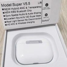Espacial áudio super v5.5 pk 5.0 tws 45db novo híbrido anc bluetooth 5.2 fones de ouvido sem fio super bass