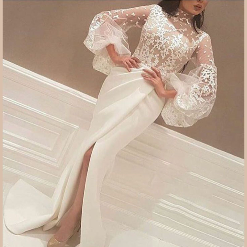 Designer High Slits Evening Mermaid High Neck 3/4 Sleeves Lace Body Pleated Skirt Formal Gown 2018 Mother Of The Bride Dresses
