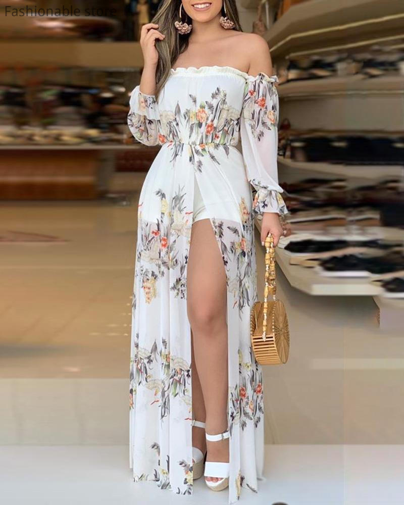 Elegant Women Floral Print Playsuit Off Shoulder Culotte Design Thigh Slit Romper Ladies Summer Chiffon Jumpsuits