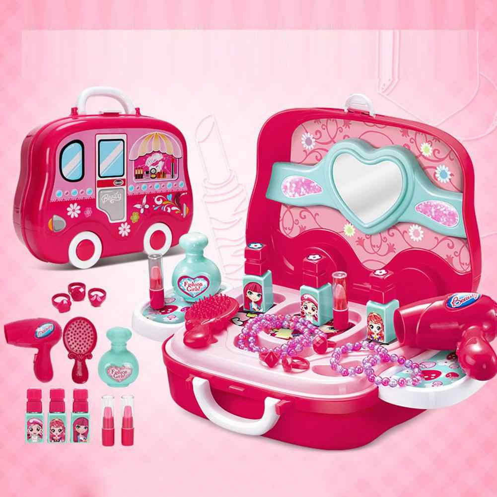 Детская игрушка принцессы для ролевых игр, косметический набор для маленьких девочек, детская игрушка для макияжа, имитационная Парикмахерская коробка для путешествий для девочек