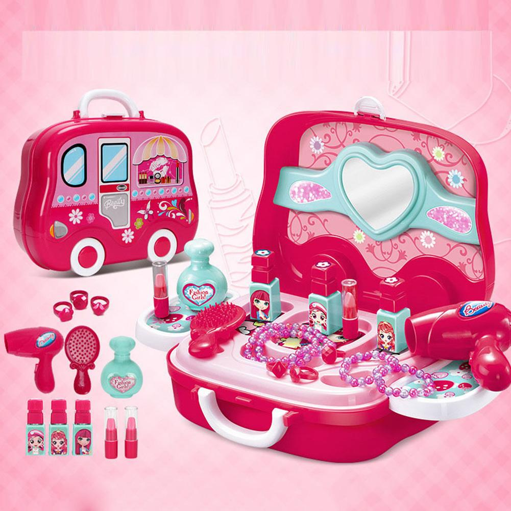Child Pretend Play Princess Toy Baby Girls Cosmetics Kit Kids Make Up Toy Simulation Hairdressing Travel Box For Girls
