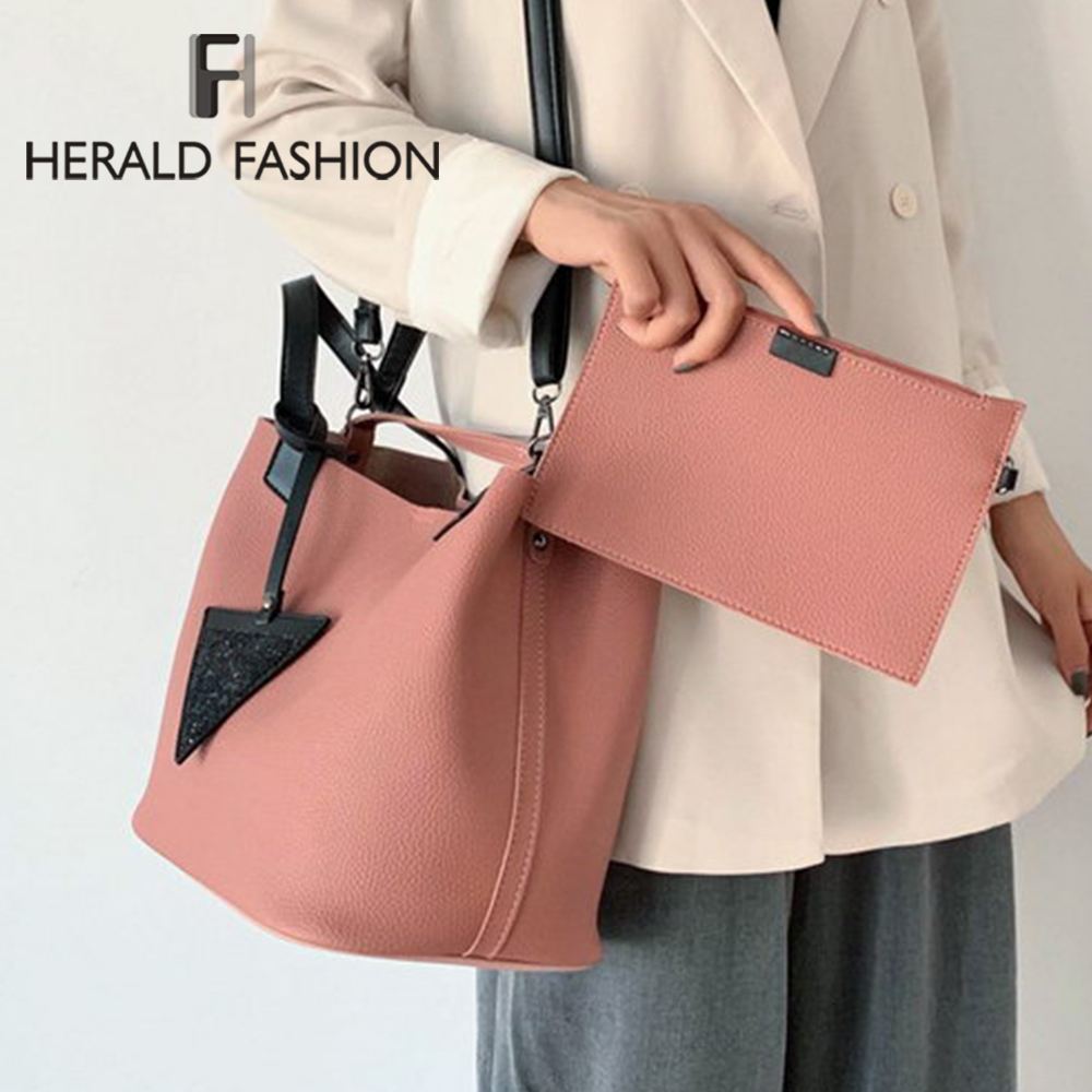 Herald Fashion Women Handbag 2Pcs/set Bags Set Quality Leather Top-Handle Pendant Bag Ladies Shoulder Bag Pink Brown Tote Bag