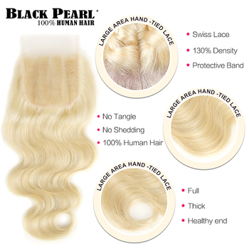 Black Pearl 613 Blonde Bundles With Closure Malaysian Body Wave Remy Human Hair Weave Honey Blonde 613 Bundles With Closure 3