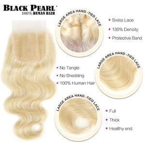 Image 4 - Schwarz Perle 613 Blonde Bundles Mit Verschluss Malaysische Körper Welle Remy Menschenhaar Weben Honig Blonde 613 Bundles Mit Verschluss