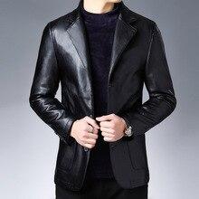 Осень костюм кожаная куртка бизнес мода мужская куртка мужская приталенная кожаная куртка кожаный костюм для мужчин