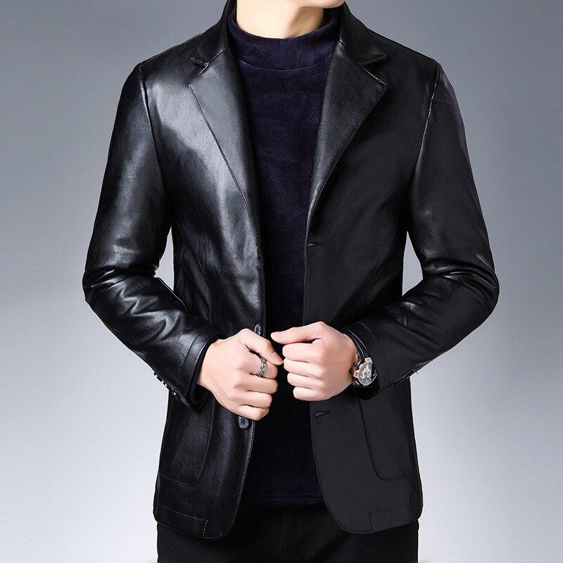 Otoño 2019 nuevo traje de chaqueta de cuero de moda de negocios chaqueta de hombre de ajuste delgado de cuero chaqueta de cuero traje de cuero para hombres