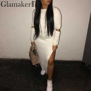 Image 5 - Glamaker White elegant knitted sweater winter dress Women hollow out two piece suit midi dress Autumn sexy party bodycon dress