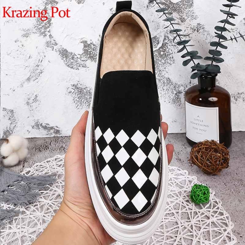 Vulcanized-Shoes Wedges Krazing Pot L98 Slip High-Heels Prints Lloafers Autumn Winter