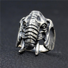 Anillo de elefante Vintage para hombre, plata, acero inoxidable, Tribe africana, cabeza de elefante, joyería de motociclista