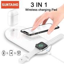 10W Qi Wireless Charger Pad Per il iPhone 11 Pro XS MAX XR 8 Plus 3 IN 1 di Ricarica Veloce stazione Per Apple Osservare 5 4 3 2 Airpods Pro