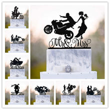 Funny Style Motorcycle Couple Wedding Cake Topper Acrylic Bride And Groom Cake Toppers Anniersary Engagement Decoration
