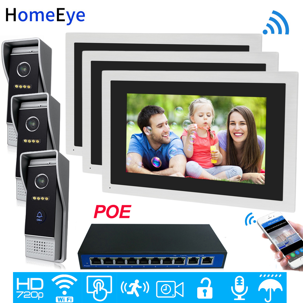 720P HD WiFi IP Video Door Phone Video Intercom 10''Touch Screen 3-3 Security Access Control System Mobile App Remote Unlock POE