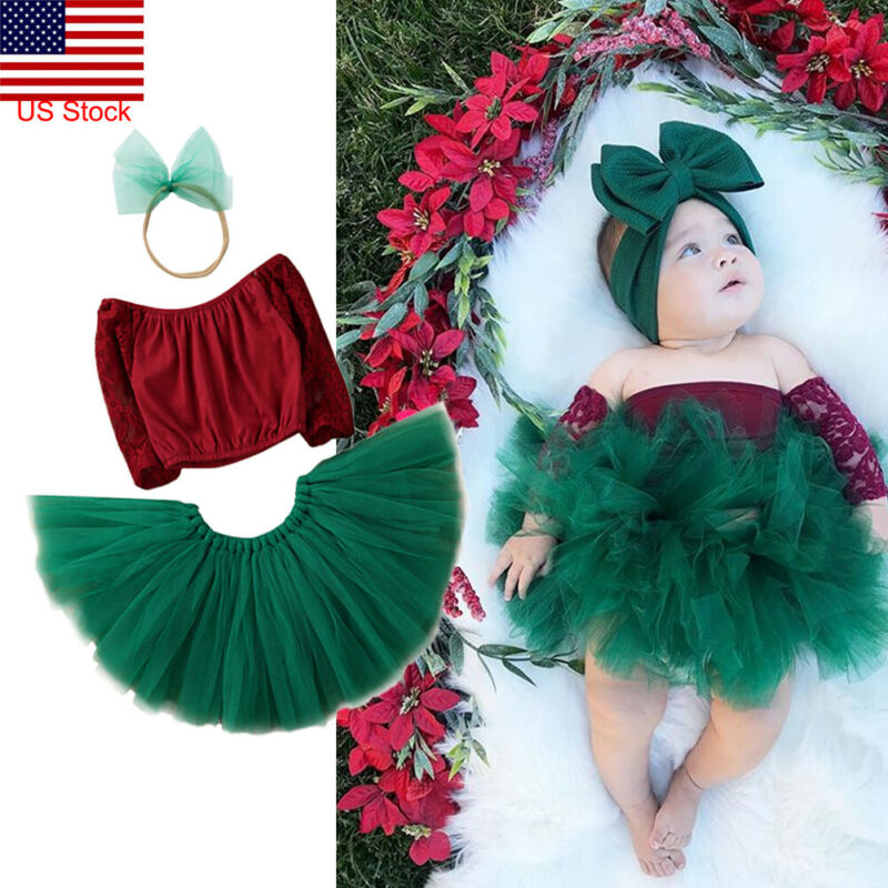 2019 Infant Baby Girls Lace Dress Princess Party Wedding Tutu Dress Outfits  Xmas Lace Vest Top Green Swing Tutu Skirt Set