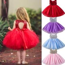 Одежда для девочек Новинка года, летнее однотонное платье принцессы для дня рождения Одежда для маленьких девочек возрастом 2, 3, 4, 5, 6 лет, праздничные платья