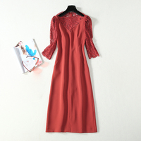 HIGH QUALITY Newest Fashion 2020 Designer Women's Elegant Boat Collar Lace Sleeve Patchwork Satin Slim Formal Dress
