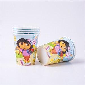 Image 2 - 107 adet Dora Explorer Tema Çocuklar Doğum Günü Parti Malzemeleri Tek Kullanımlık Sofra Kağıt Bardak Tabak Peçete Masa Örtüsü Bebek Duş