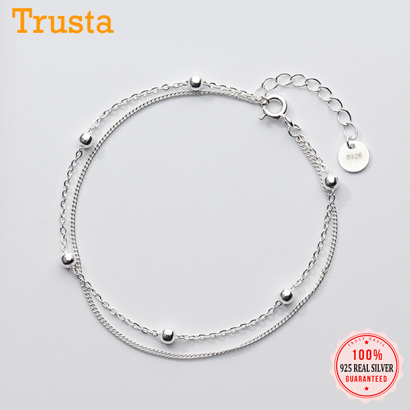 Trusta 100% 925 Sterling Silver Fashion Women's Jewelry Double Layer Beads Bracelet 16cm For Gift Girls Lady Drop Shipping DS454(China)