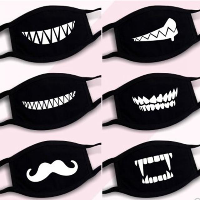 Black Cotton Dust Mask Moustache Smile Masks Mouth Teeth Mask Soft Cartoon High Quality Cartoon Expression Lady Men Marvel Masks