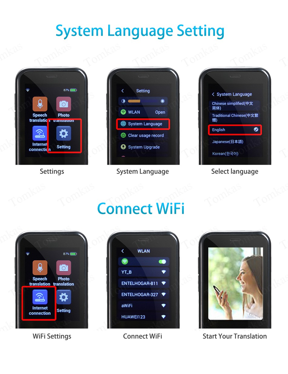 TOMKAS AI Smart Pocket Language Translator with 2.4 Inch Touch Screen and  WIFI for Multi language Voice and Photo Translation in Real Time 16