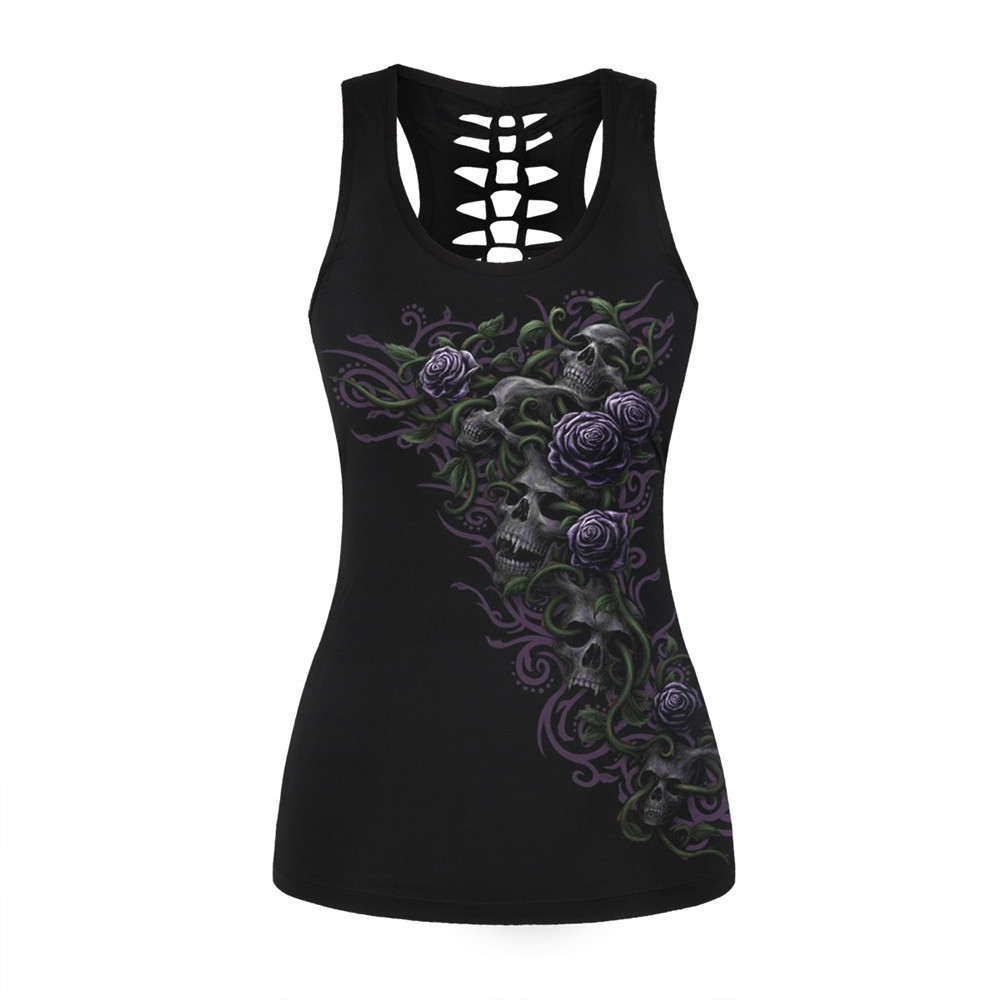 Gothic Rock Style Women Skintight 3D Printing Vest Hollow Out O Neck Sleeveless Shirts skull Tank Tops Casual Camisole 4XL-