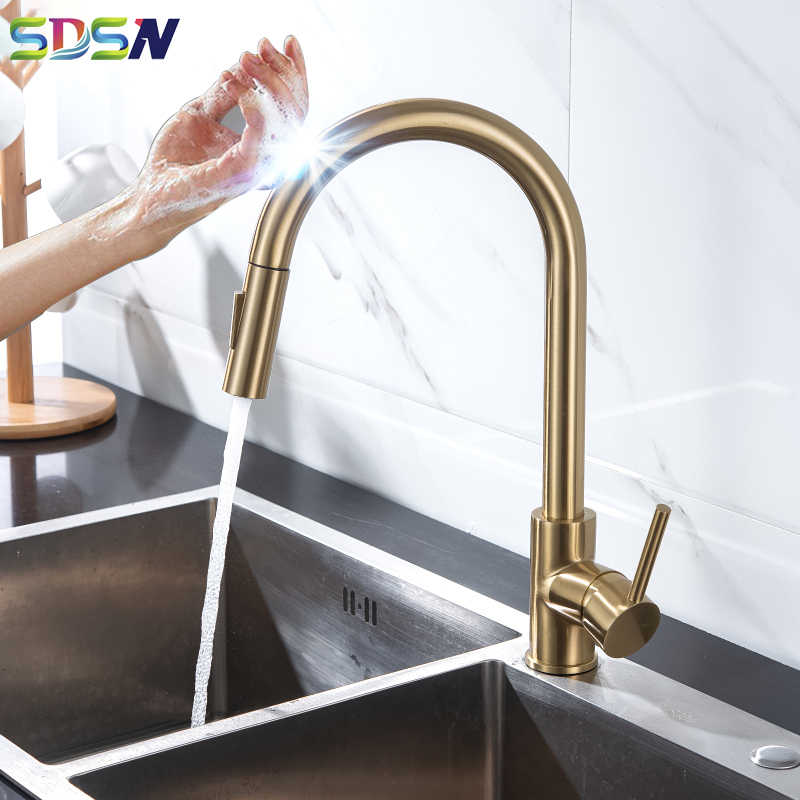 kitchen faucet sdsn pull out kitchen sink faucet smart touch kitchen faucets stainless steel gold sensor faucet kitchen mixer