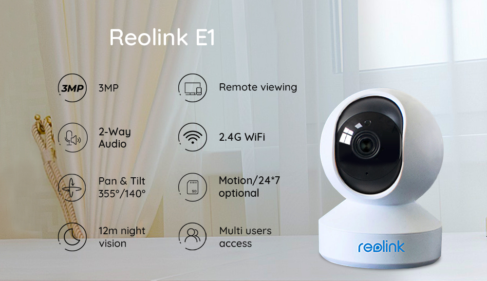 Reolink 3MP Indoor IP Wifi Camera with Pan & Tilt 2-Way Audio and SD Card Slot  E1 1