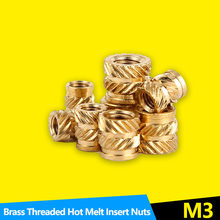 Heat Set Insert Nuts Female Thread Brass Knurled Inserts Nut Embed Parts Pressed Fit into Holes for 3D Printing M3 100Pcs