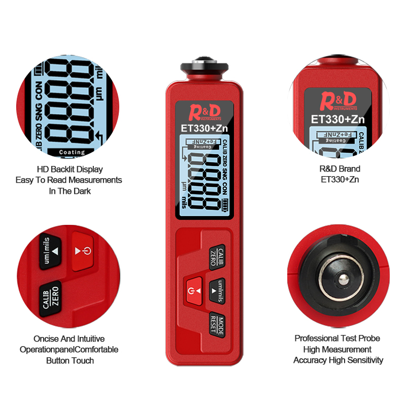 Tools : R amp D ET330 ZN Red Car Paint Thickness Gauge Meter Digital Films for Car Paint Tester with Backlight Thickness Coating Meter NEW
