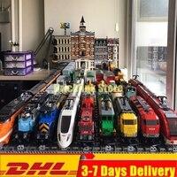 DHL IN Stock Cargo Train Heavy Haul Passenger Train Buillding Blocks Bricks Toys Compatible Legoinglys 60052 60098 02008 02009