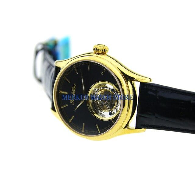 Sugess hommes montre mécanique TianJin Hangzhou haute battement Tourbillon mouvement squelette robe de luxe plaqué or cadran noir