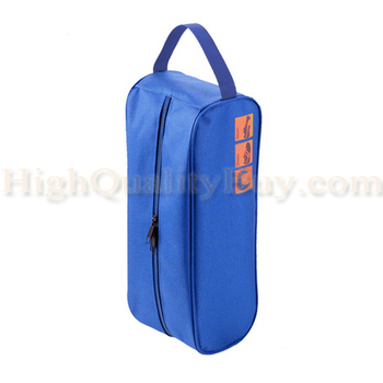 Golf Bowling Shoes Bag Zipper Design Outdoor Travel Camping Carry Storage Case Box Dustproof Waterproof Blue 33cm x 12cm x 12cm image