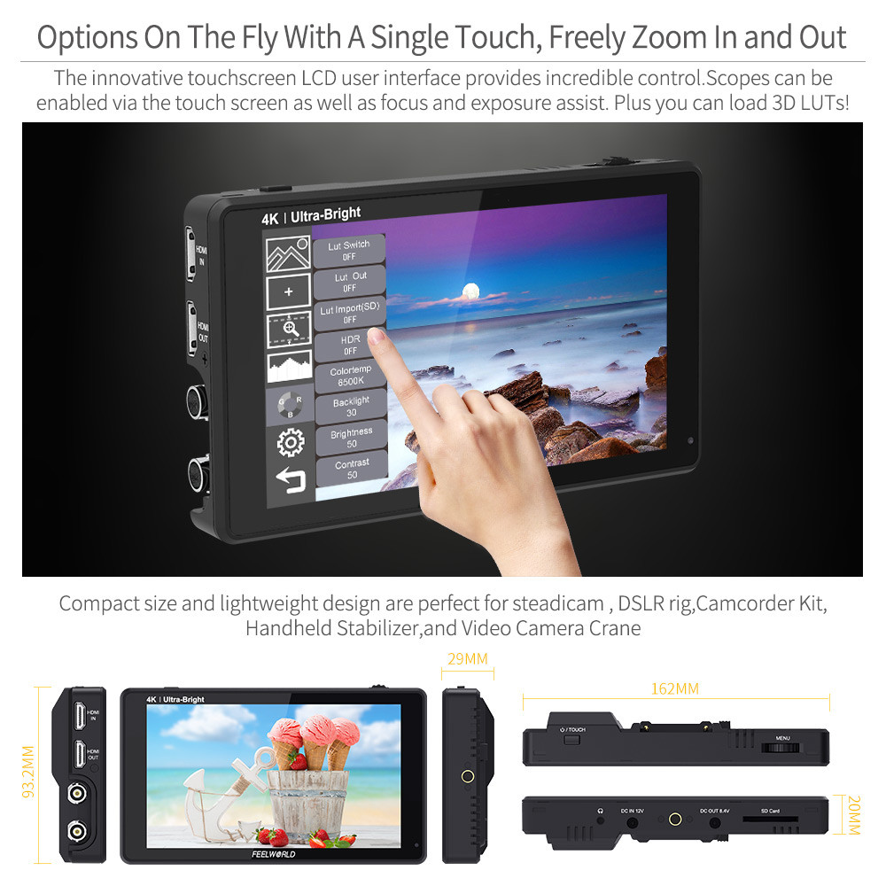 FEELWORLD LUT6S 6-inčni terenski monitor kamere 2600nits HDR / 3D - Kamera i foto - Foto 6