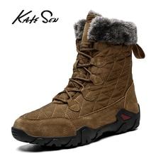 KATESEN New Leather Men Boots Winter Shoes Men Waterproof Snow Boots With Warm Plush Winter Footwear Male Casual Boot Sneakers camel men winter boots new snow boots with warm fur boots scrub slip on plush man boot casual cow leather shoes men