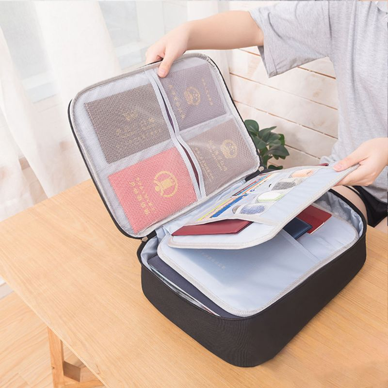 Document Ticket Storage Bag Waterproof 3 Layers Compartments Large Capacity Certificates Files Organizer For Home Travel